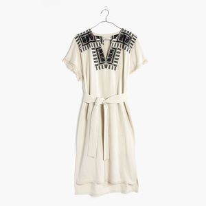 Madewell Paradise linen blend embroidered dress